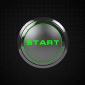 Photo Green LED start button on black background.