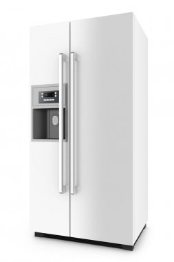 White fridge with side-by-side door system isolated on white background.