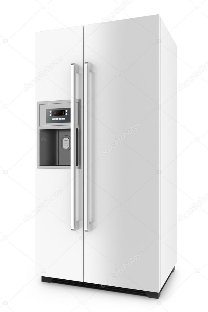 Weiß Kühlschrank Mit Side By Side Tür System Isoliert Auf Weißem