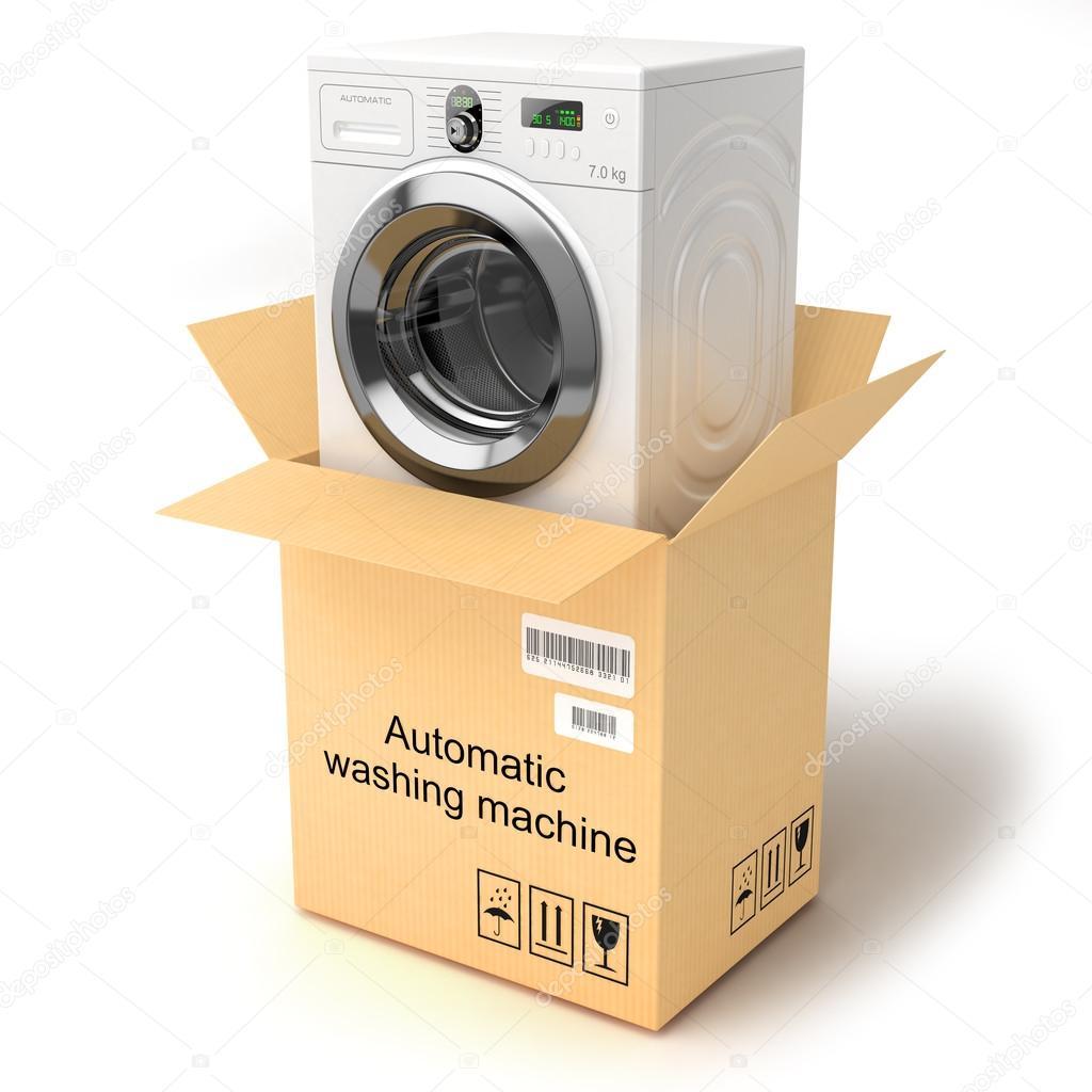 Desembalaje de la lavadora aislado sobre fondo blanco - Lavadora fondo reducido ...