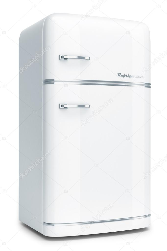 Retro Kühlschrank isoliert auf weißem Hintergrund — Stockfoto ...
