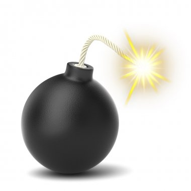 Burning of black bomb isolated on white background