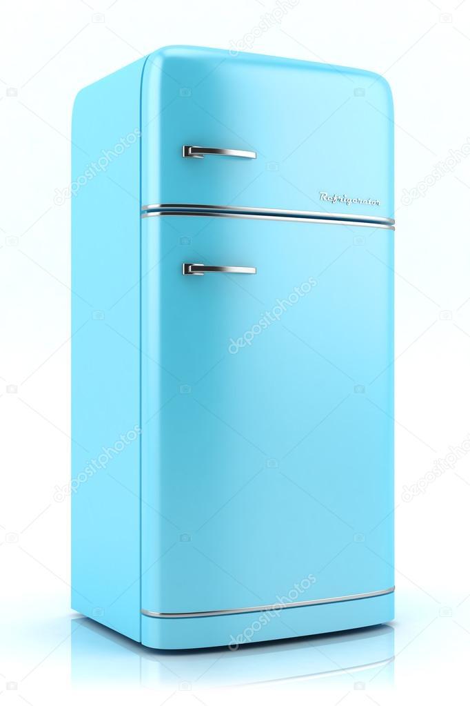 blau retro Kühlschrank isoliert auf weißem Hintergrund — Stockfoto ...