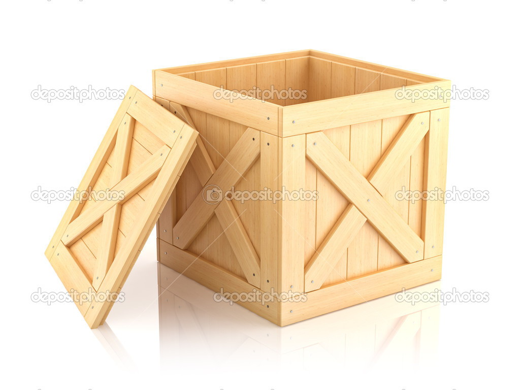 open wooden box isolated on white background 3d stock photo