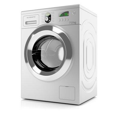 Modern silver washing machine isolated on white background