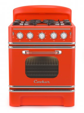 Red retro stove isolated on white background