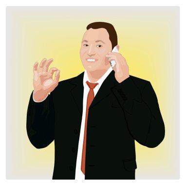 Success businessman showing ok sign
