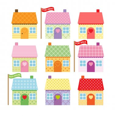 Set of cute cartoon houses for sale and rent