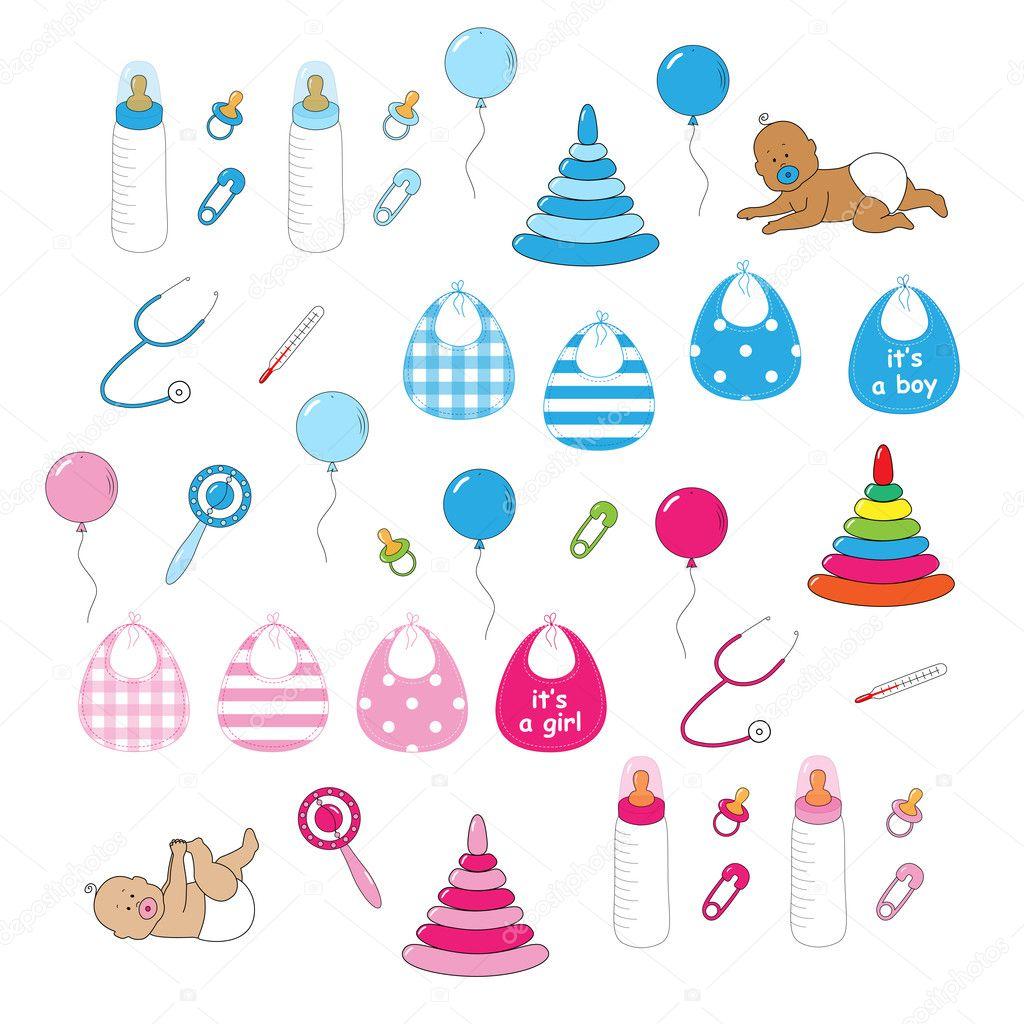 Spullen Voor Baby.Pasgeboren Baby Spullen Stockvector C Ishkrabal 22348655