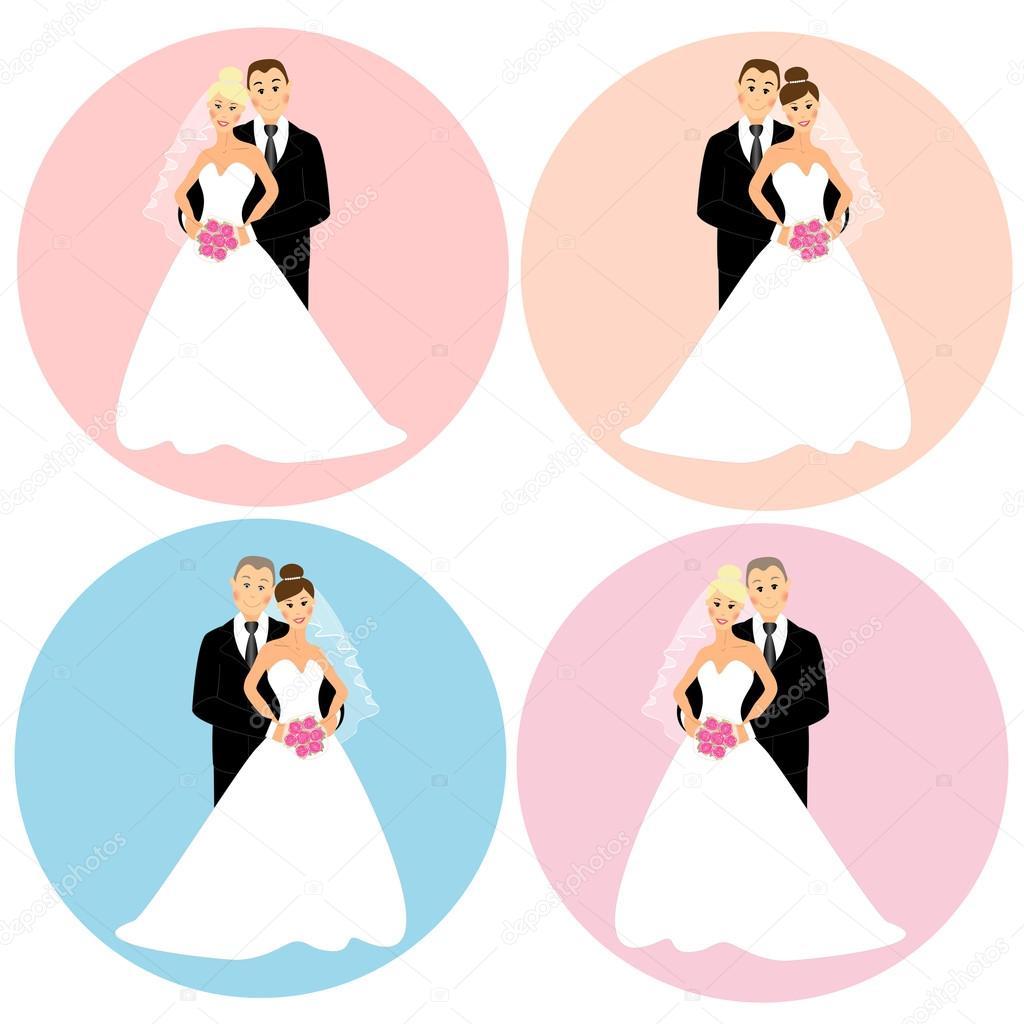 conjunto de parejas de boda — Foto de stock © IShkrabal #23447386