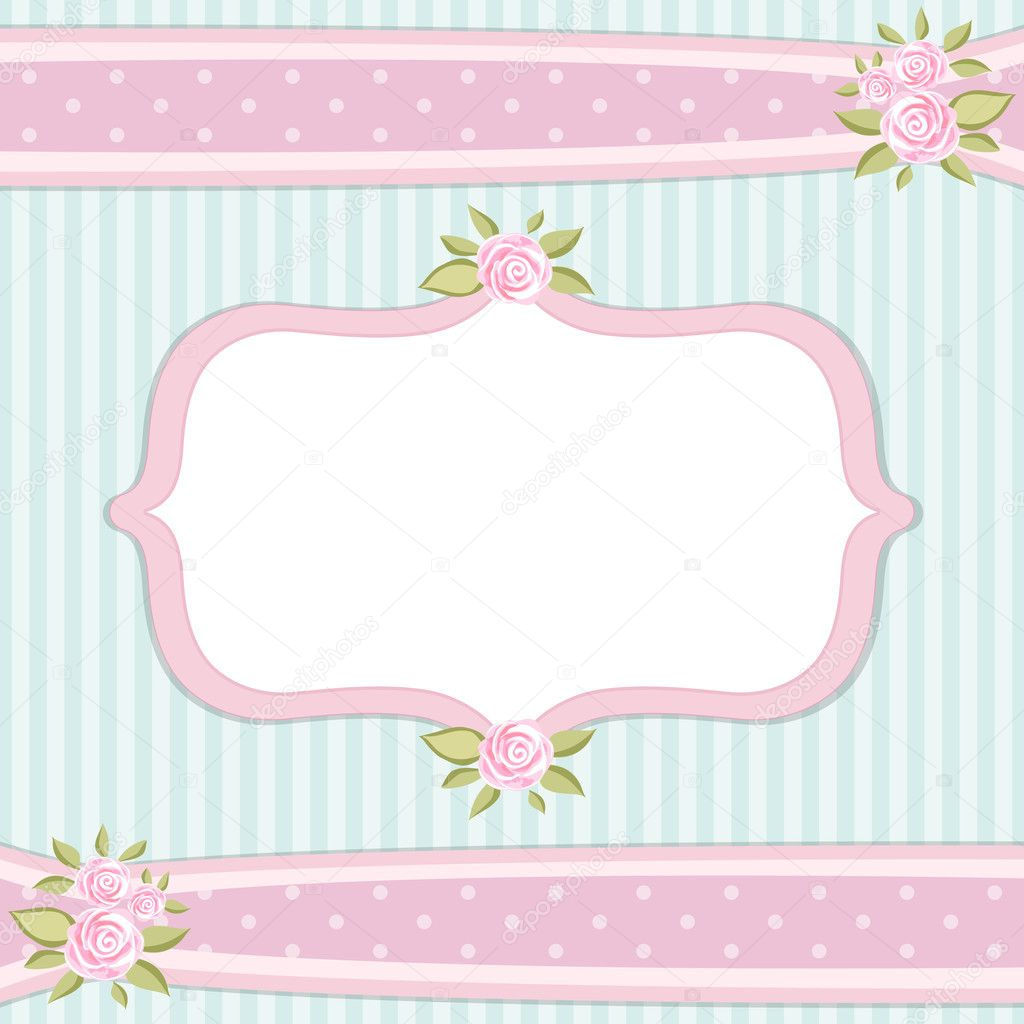 Vintage Floral Frame With Roses In Shabby Chic Style Vector By IShkrabal