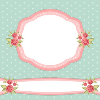 Vintage floral frame with roses in shabby chic style clip art vector