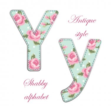 Fabric letters with roses in shabby chic style isolated on white background clip art vector