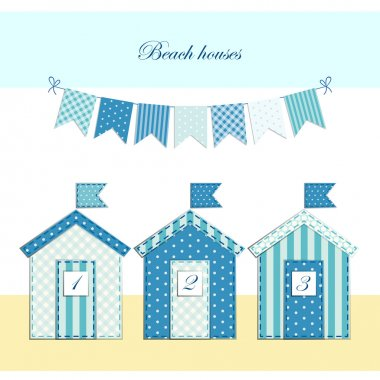 Beach huts fabric applique