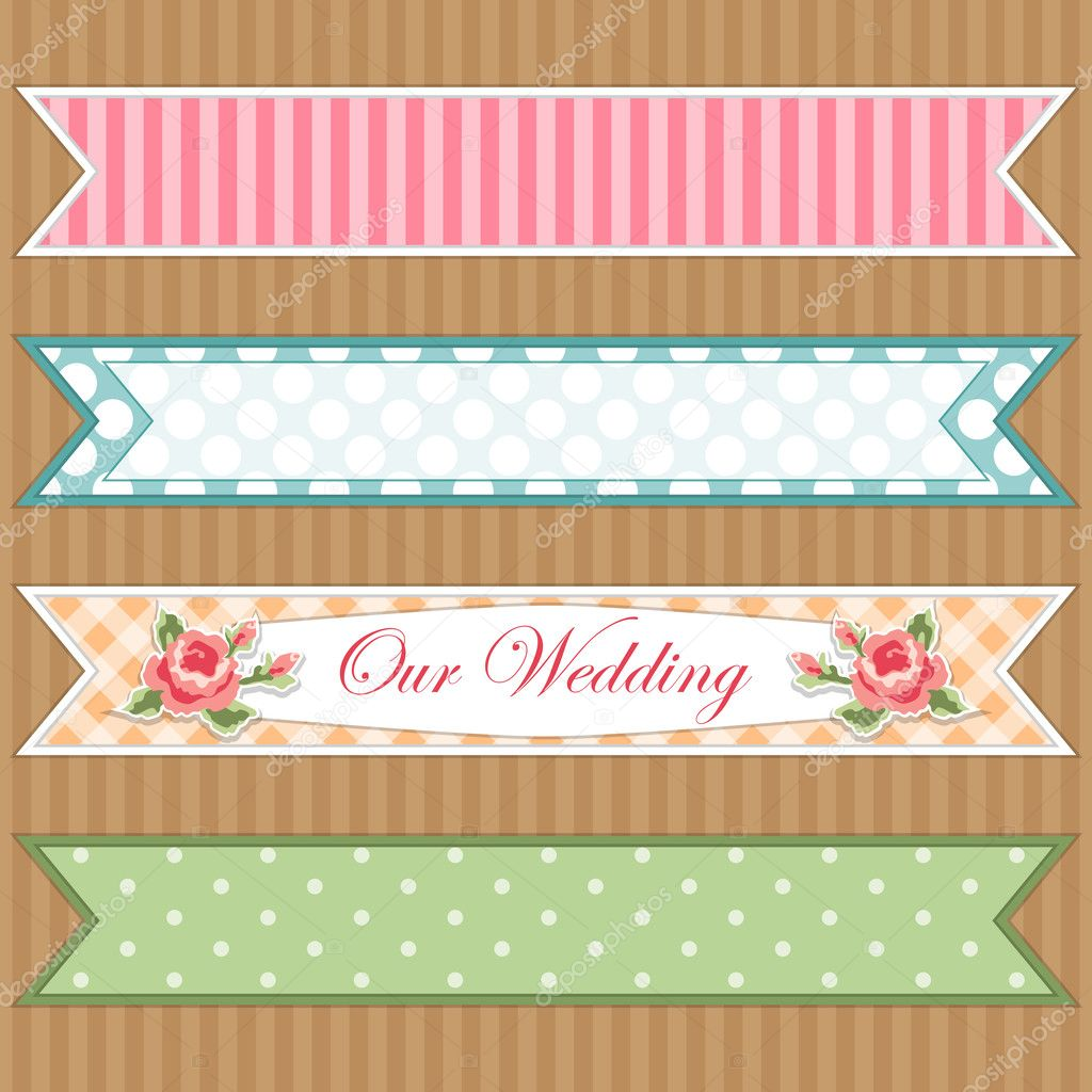 Retro ribbons as banners