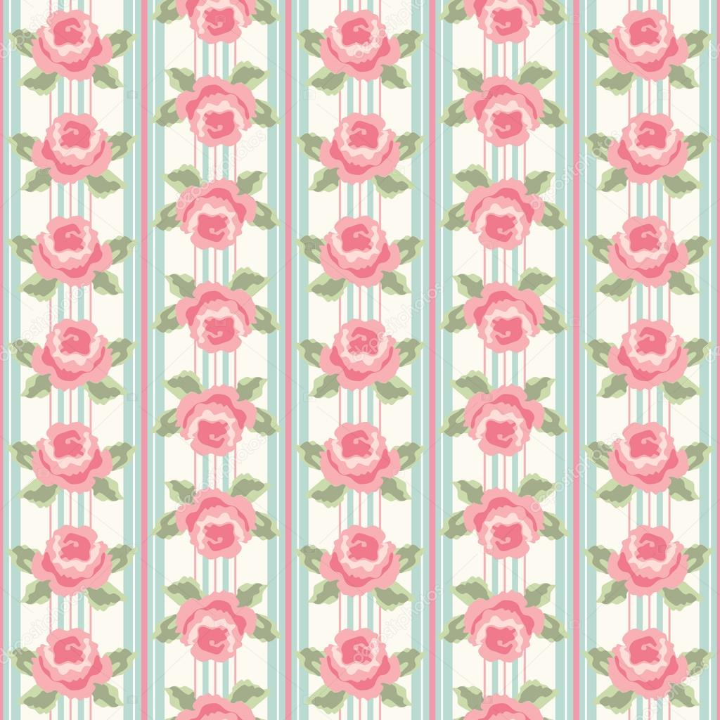 Retro Background As Striped Wallpaper With Roses In Shabby Chic Style Vector By IShkrabal