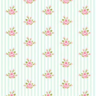 Shabby chic pattern with roses on striped background