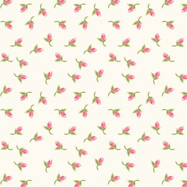 Shabby chic pattern with cute tiny rosebuds