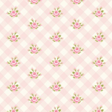 Shabby chic pattern with roses on plaid background