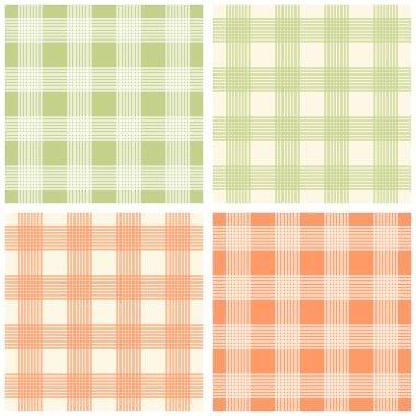 Set of four seamless retro gingham patterns