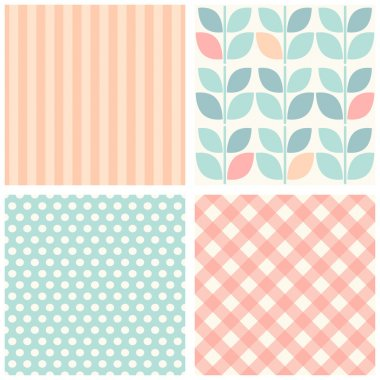 Set of four cute retro seamless backgrounds
