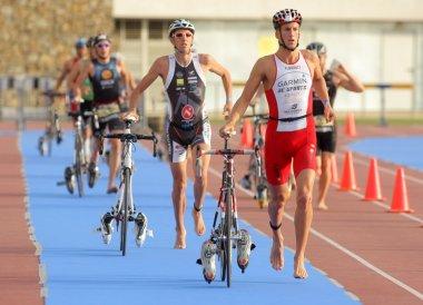 Triathletes on transition zone of Barcelona