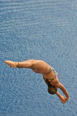 Swimmer launched into water