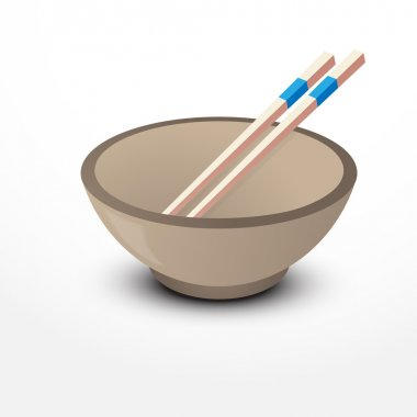 Two chopsticks on Chinese Bowl