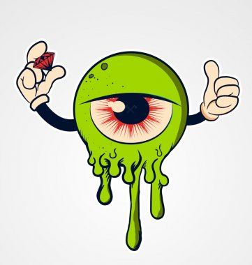 Funny Cartoon eyeball with hands and diamond
