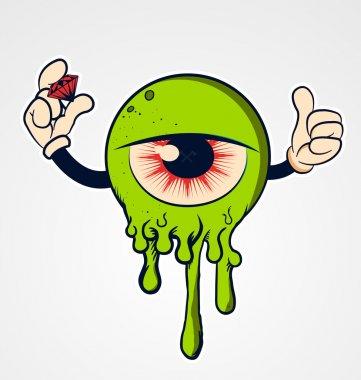 Funny Cartoon eyeball with hands and diamond stock vector