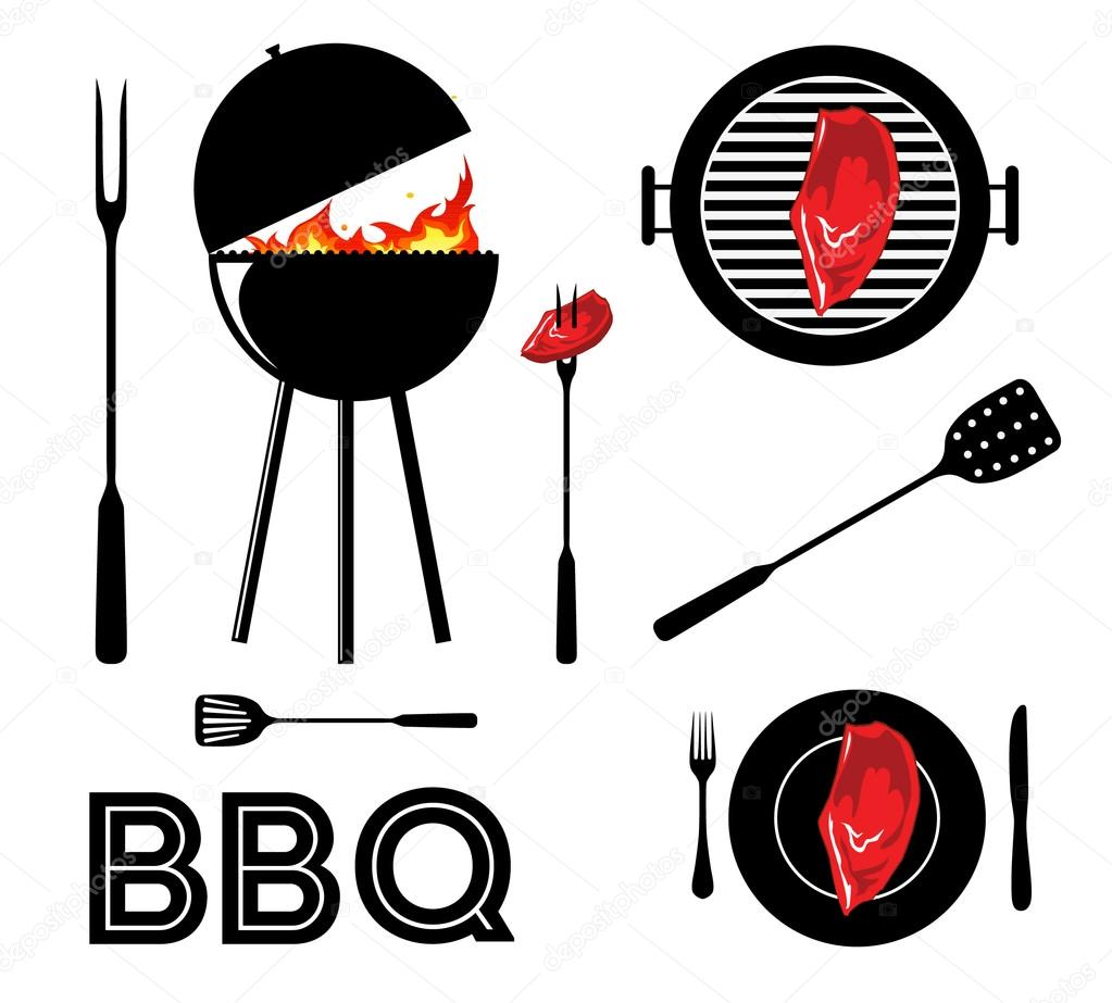 vintage cartoon barbecue party tool set bbq stock vector sztufi