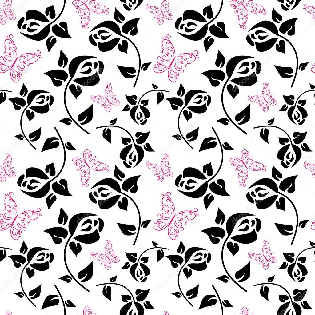 Seamless pattern with butterflies and roses