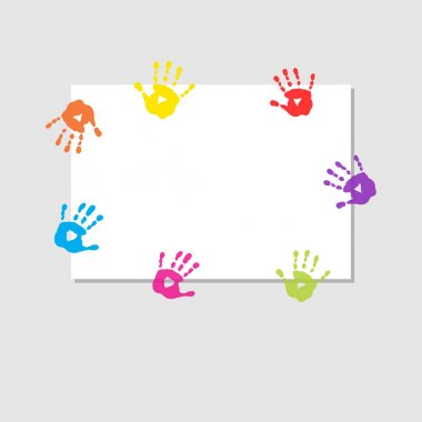 Cover sheet with a prints of children's hands stock vector