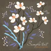 Kártya tavaszi virágok és a fűzfa