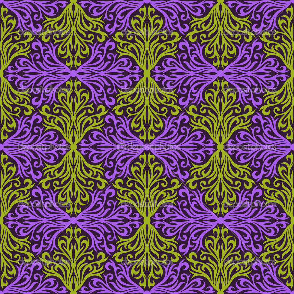 Violet and green floral abstract hand-draw seamless pattern.