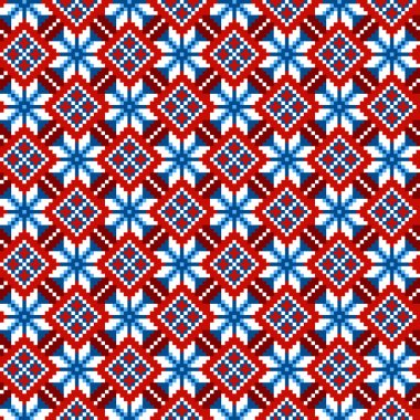 Cross stitch ethnic seamless pattern. Handmade orient traditiona