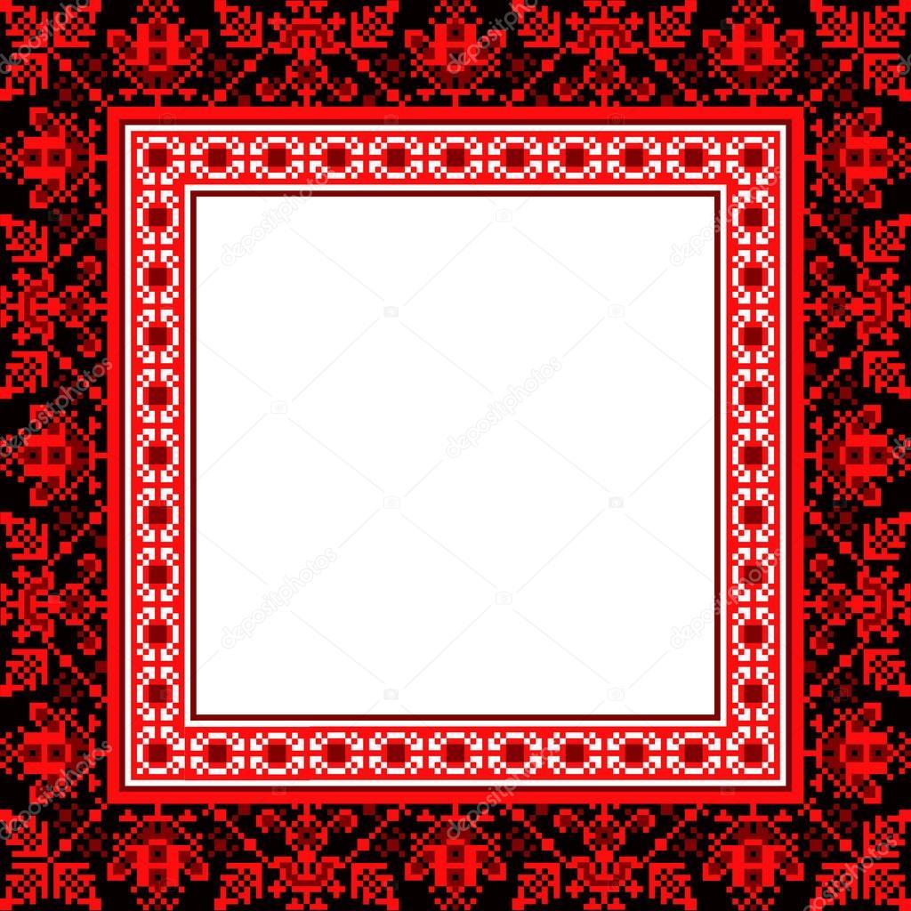 marco étnico de punto de Cruz. ornamento tradicional orientales ...