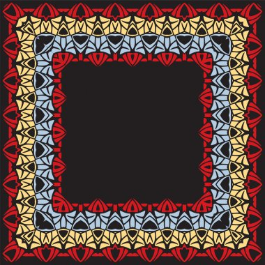 Vector geometric colorful square frame. Decorative element for i