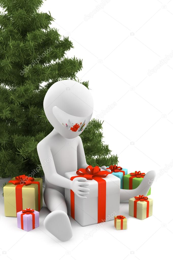 3d man received gifts. 3d image. On a white background