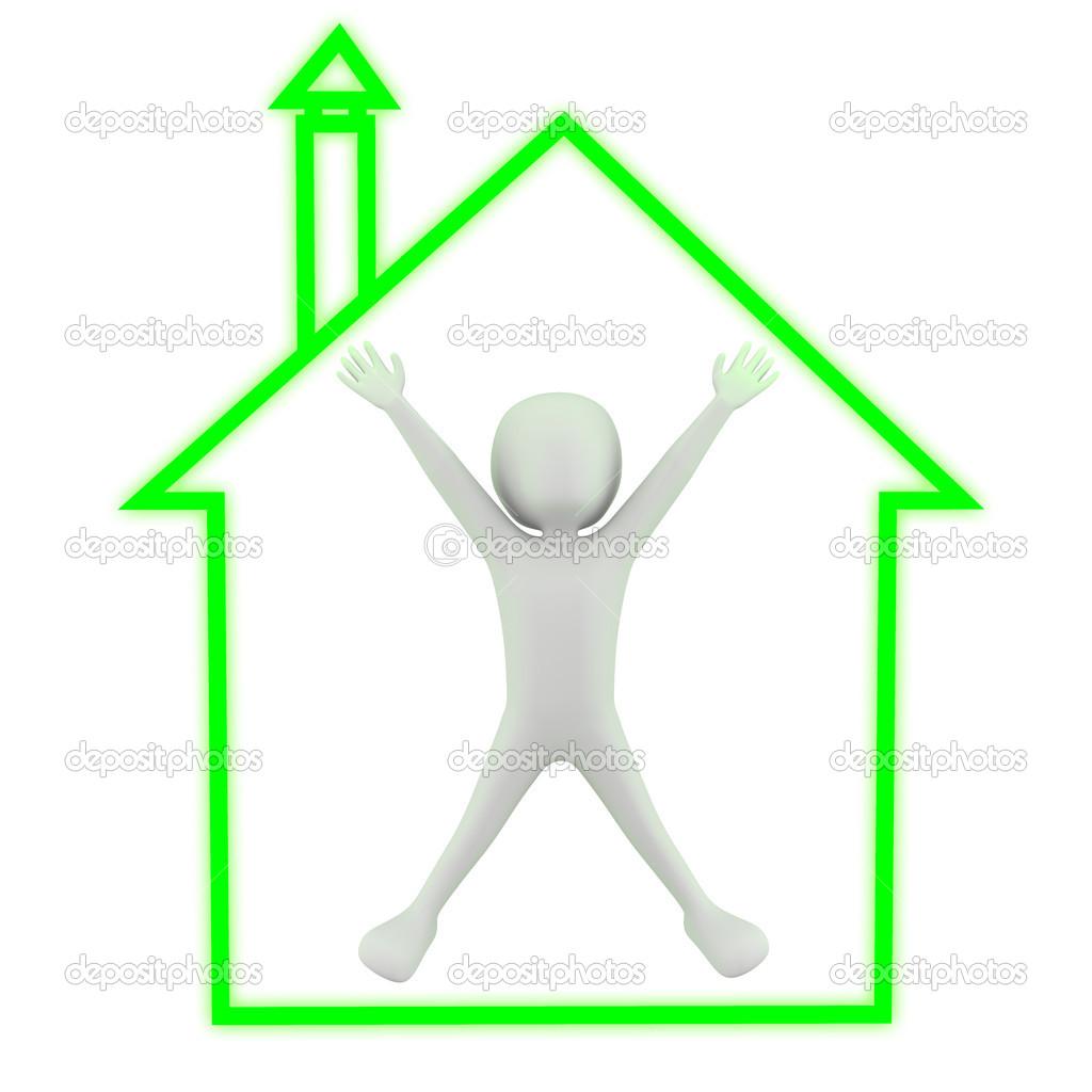3D Klein   Mein Haus! 3D Bild. Auf Weißem Hintergrund U2014 Foto Von DamirL