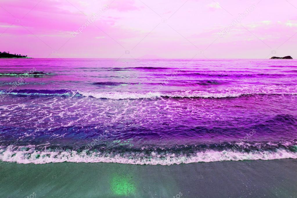 waves of sea on the sandy beach