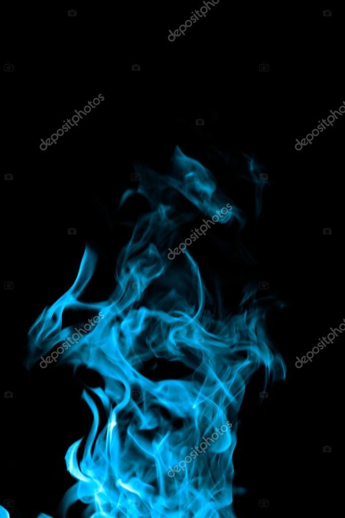 Fuoco Blu Su Sfondo Nero Foto Stock Nagydodo 39938981