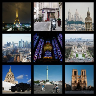 Collage of Paris landmarks