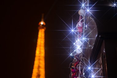 Eiffel tower and Christmas lights