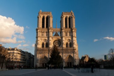 Sunlit Notre-Dame cathedral in Paris