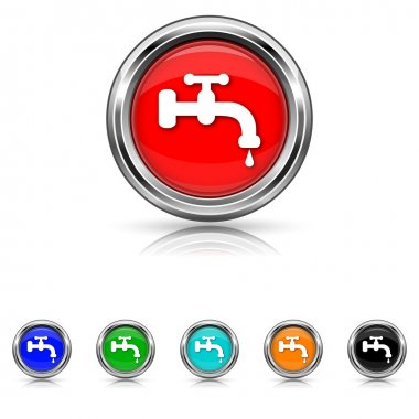 Water tap icon - six colours set