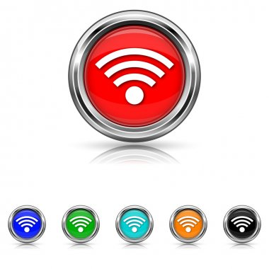 Wireless sign icon - six colours set