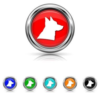 Dog icon - six colours set