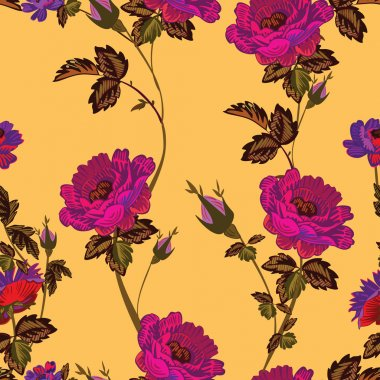 Colorful flowers and leafs - seamless pattern