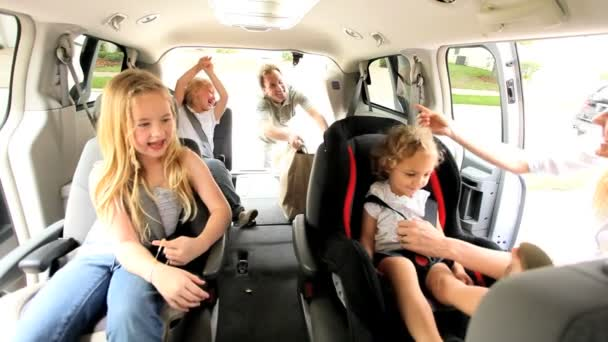Blonde Caucasian Family Ready Car Road Trip